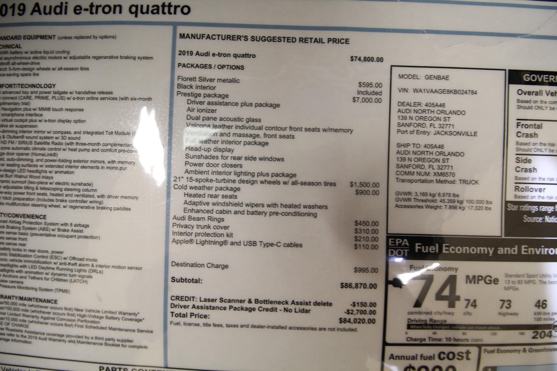 Used 2019 Audi e-tron Prestige quattro LIKE NEW 1 OWNER NEW KARMA TRADE 87K MSRP | Albany, NY